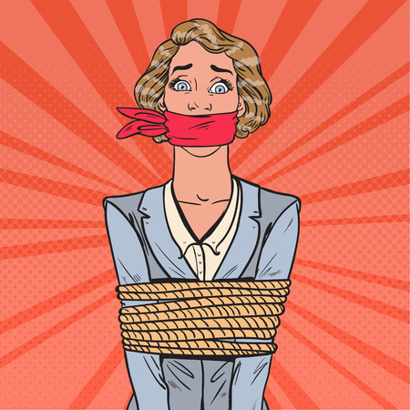 Pop Art Scared Woman Tied Up with Rope