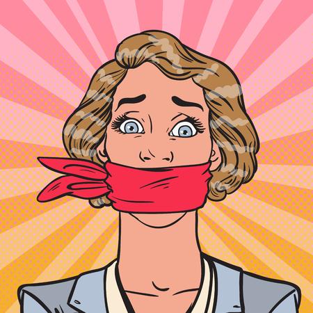 Mujer asustada del arte pop atada con la cuerda Ilustración de vector