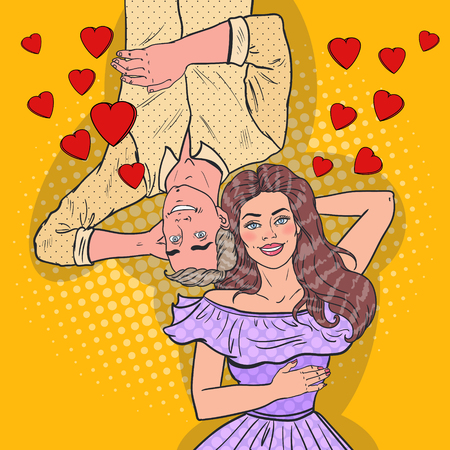 Pop Art Happy Young Couple In Love Laying Down Stock Illustratie