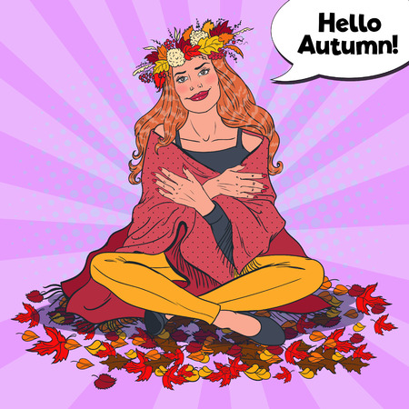 Pop Art Woman on Autumn Day in the Park with Fall Maple Leaves