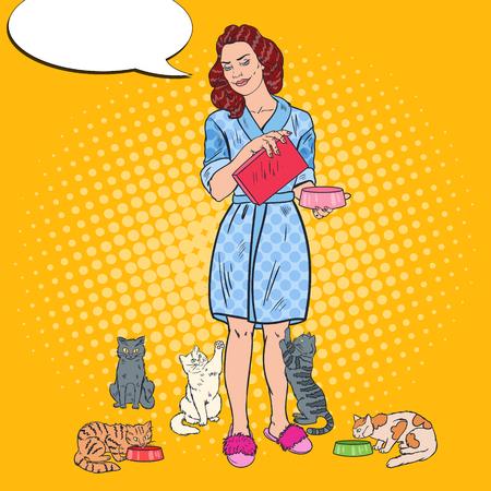 고양이 먹이를주는 여성. 일러스트
