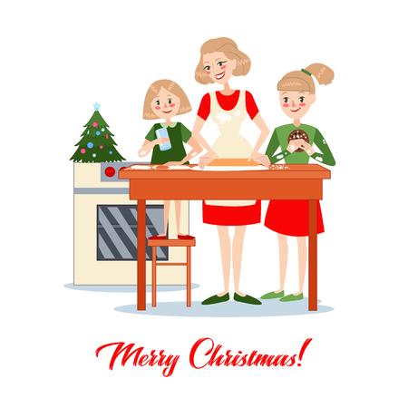 Mutter backt traditionelle Weihnachtsplätzchen mit Töchtern. Glückliche Familie Winterferien. Vektor-Illustration Standard-Bild - 87064616