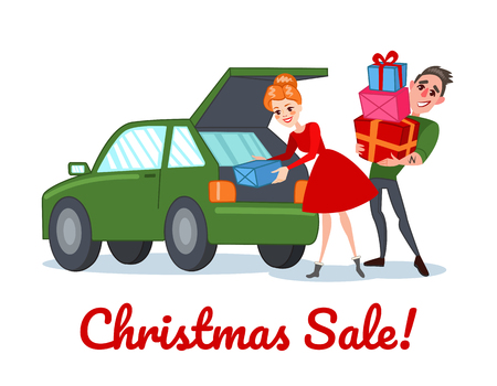 Happy Couple on Christmas Sale. Family Shopping on Winter Holidays. Man and Woman with Gifts. Vector illustration Stock Vector - 87064618
