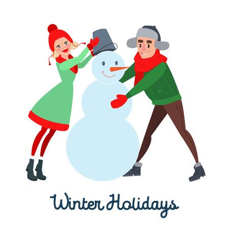 Couple heureux faisant des arbres. hiver . illustration vectorielle de vacances. hiver Banque d'images - 87064620
