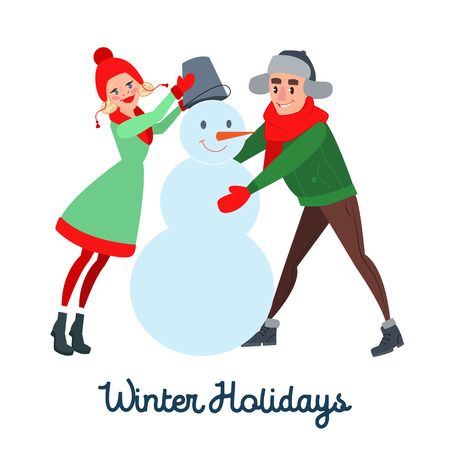 Happy Couple Making Snowman. Winter Vacation. Christmas Time. Vector illustration Illustration