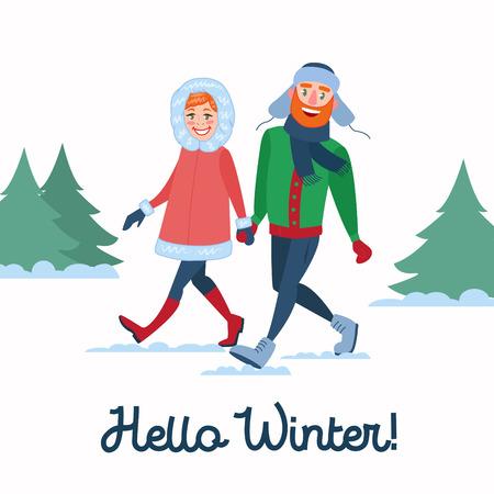 冬の休日の幸せなカップル。男性と女性の歩行に手を繋いでいます。クリスマスの時期。ベクトル図