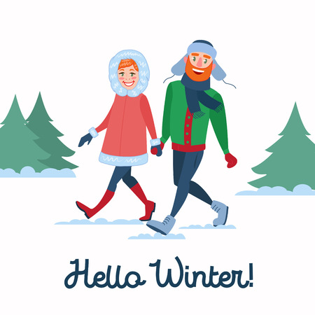 Happy Couple on Winter Holidays. Man and Woman Holding Hands on Walking. Christmas Time. Vector illustration Stock Illustratie
