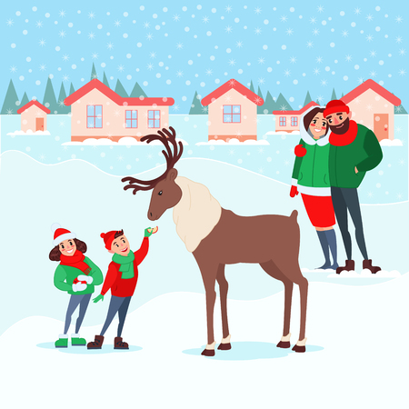 Christmas Scene with Kids. Happy Family on Winter Holidays. Children Feeding Deer. New Year Celebration. Vector illustration Illustration