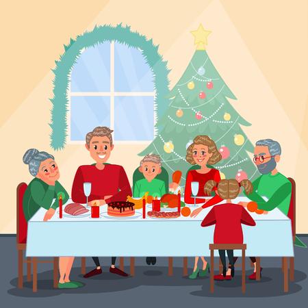 Familien Weihnachtsessen mit Großeltern. Familie, die neues Jahr feiert. Winterferien. Vektor-Illustration