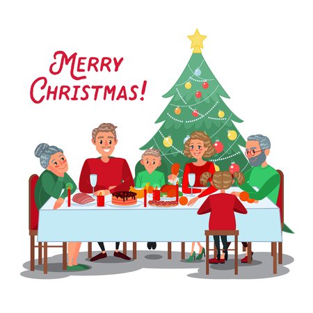 Family Christmas Dinner with Grandparents. Happy Family Celebrating New Year. Winter Holidays. Vector illustration