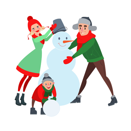 Happy Family Making Snowman. Hello Winter. Christmas Time. Vector illustration
