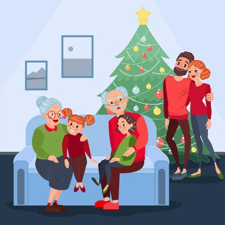 幸せな家族のクリスマスを祝います。新しい年の前夜に孫を持つ祖父母。冬の休日。ベクトル図  イラスト・ベクター素材