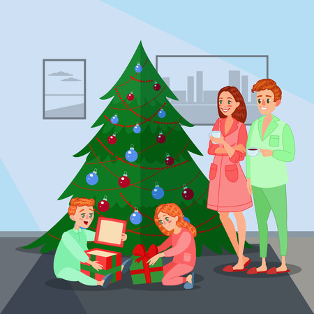 Kids Opens Christmas Presents. Happy Family Winter Holidays. Vector illustration