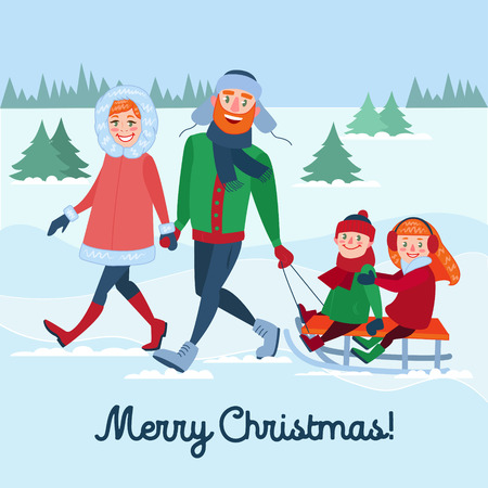 Happy Family on Winter Holidays. Parents with Kids Sledding. Merry Christmas Time. Vector illustration Illustration
