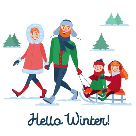 Famille heureuse pendant les vacances d'hiver. Parents avec Kids Sledding. Bonjour la saison d'hiver. Illustration vectorielle Banque d'images - 87064643
