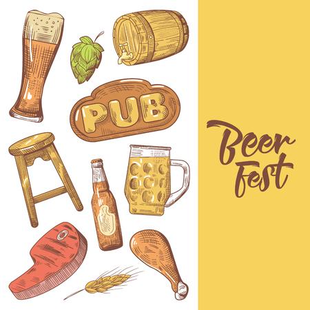 Beer Festival Hand Drawn Advertising, Poster, Banner. Beer Sketch Style Doodle. Vector illustration Çizim