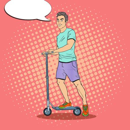 Giovane uomo che guida il motorino di spinta. Ragazzo sorridente su Kick Scooter. Illustrazione vettoriale Archivio Fotografico - 87256987