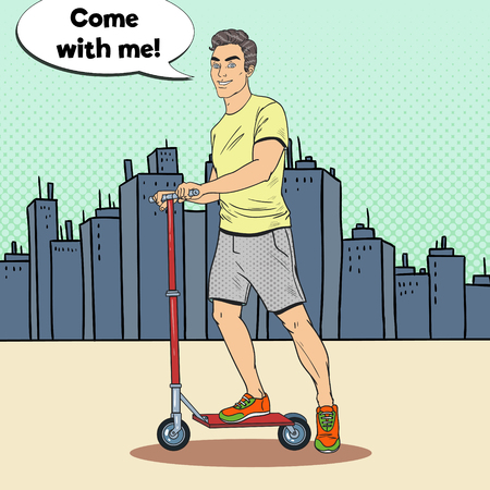 Pop Art Young Man Driving Kick Scooter in the City. Modern Urban Vehicle. Vector illustration