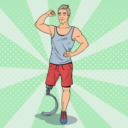 ポップアート義足で無効になっているスポーツマン。障害者スポーツ。パラリン ピックの選手。ベクトル図  イラスト・ベクター素材