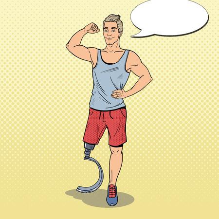 ポップアート脚義足で無効になっているスポーツマン。障害者スポーツ。パラリン ピックの選手。ベクトル図