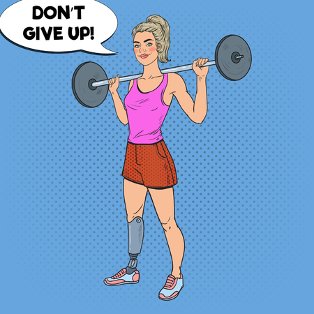 Pop Art Disabled Woman with Leg Prosthesis in Gym with Barbell. Handicapped Sport. Paralympic Athlete. Vector illustration Ilustrace