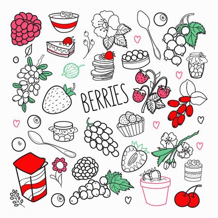 果実手描き落書き。ブドウ、チェリーとイチゴの概要ベリー セット。ベクトル図  イラスト・ベクター素材