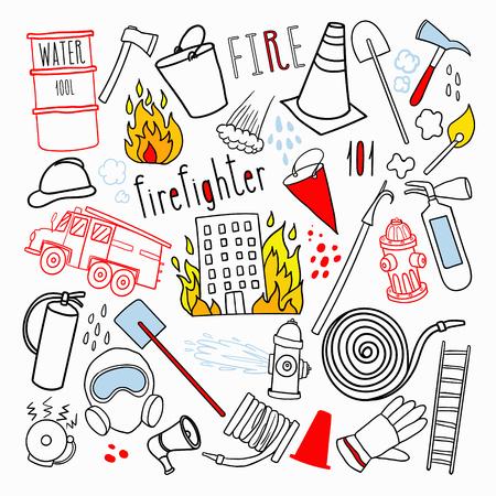Firefighting Hand Drawn Doodle. Stock Illustratie