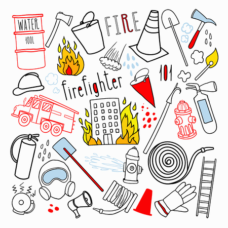 Firefighting Hand Drawn Doodle. Illustration