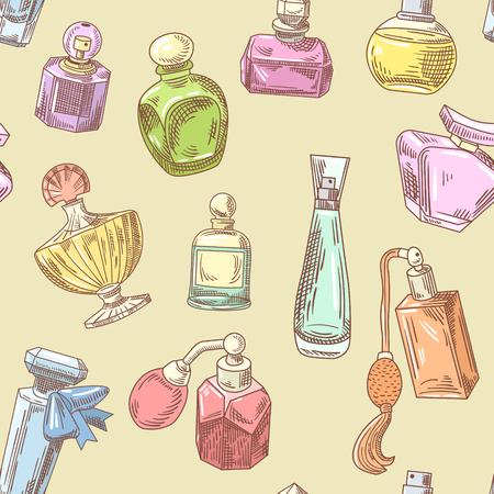 Botellas de perfume patrón dibujado a mano