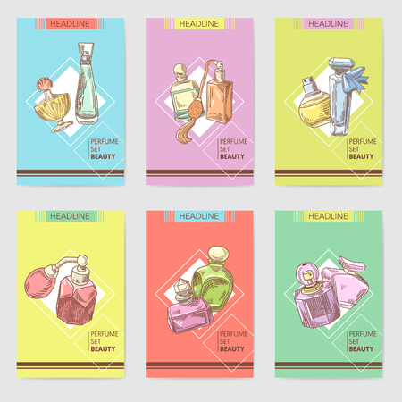 Perfume Bottles Hand Drawn Cards Template