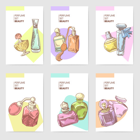Perfume Bottles Hand Drawn Cards Template Stok Fotoğraf - 87576990