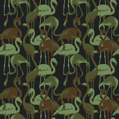열대 조류 플라밍고 군대 패턴 일러스트