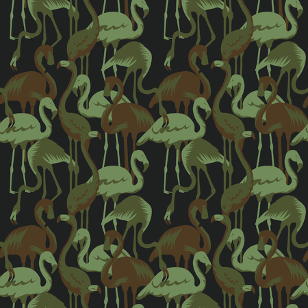 Military Pattern with Tropical Birds Flamingo