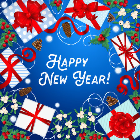 christmas greeting card: Happy New Year Greeting Card