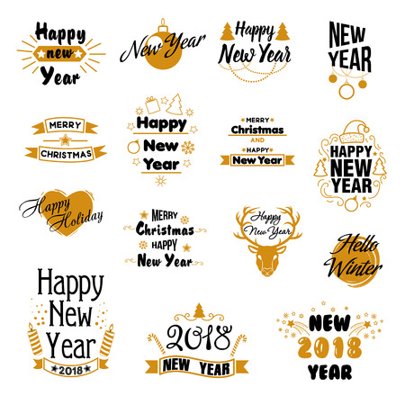 christmas greeting card: Happy New Year Hand Drawn Emblems Set Illustration