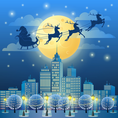 Santa Sleigh in the Moonlight Çizim