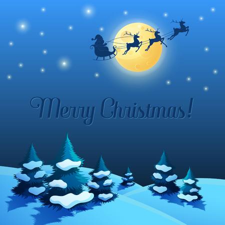 christmas greeting card: Santa Sleigh in the Moonlight Illustration