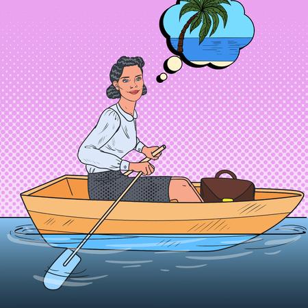 Pop Art Business Woman on Boat