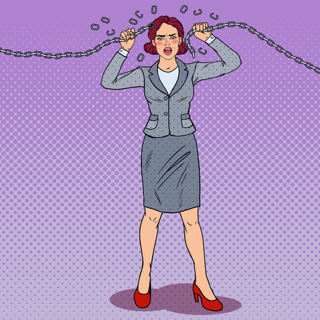 Pop Art Businesswoman Breaking Metal Chain