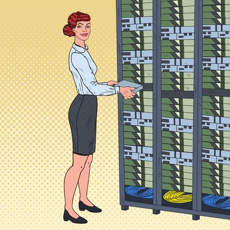 Pop Art Network Female Engineer in Hardware Data Center Illustration