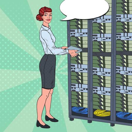 Pop Art Network Female Engineer Working with Hardware Data Center