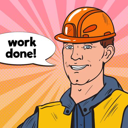 Pop Art Smiling Industrial Worker. Man in Builder Uniform and Helmet. Vector illustration