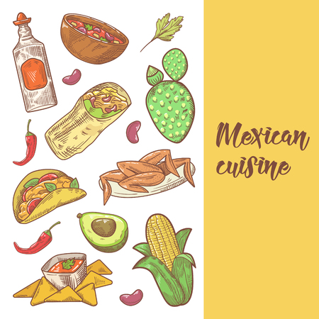 Mexican Food Hand Drawn Doodle. Mexico Traditional Cuisine Menu. Vector illustration