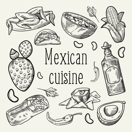 Mexican Food Hand Drawn Outlined Doodle. Mexico Traditional Cuisine. Vector illustration Çizim