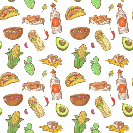 Mexican Food Hand Drawn Seamless Pattern. Mexico Traditional Cuisine Background. Vector illustration
