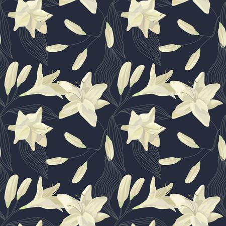 Tropical Lily Engraving Seamless Pattern. Floral Watercolor Background. Vector illustration Ilustracja