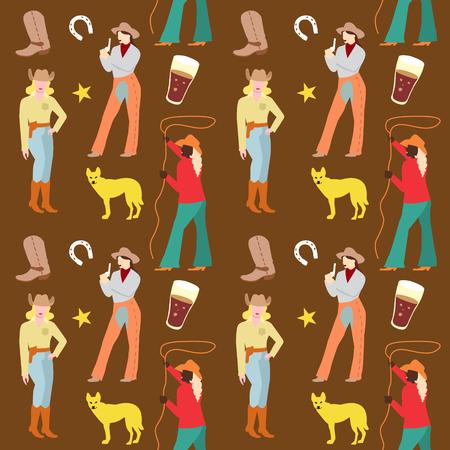 アメリカのカウガール シームレス パターン。カウボーイ服レトロな背景の女性。ベクトル図