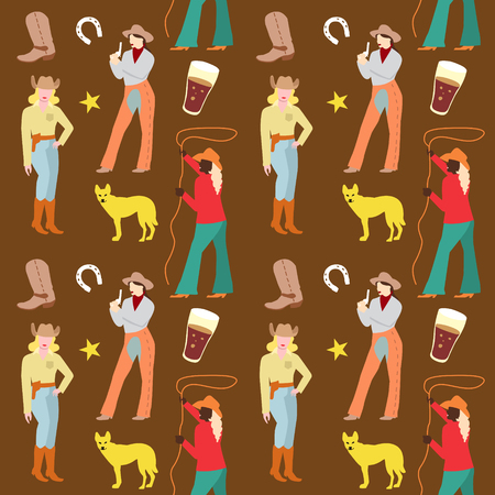 American Cowgirls Seamless Pattern. Woman in Cowboy Clothes Retro Background. Vector illustration Illustration