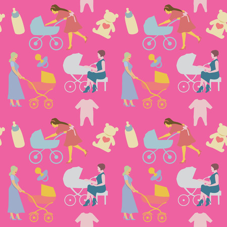 Mother with Pram Seamless Pattern in Retro Style. Women with Baby Carriage Background. Vector illustration