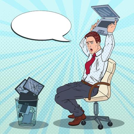 El hombre de negocios enojado del arte pop arroja la computadora portátil. Estrés en Office Work. Ilustración vectorial